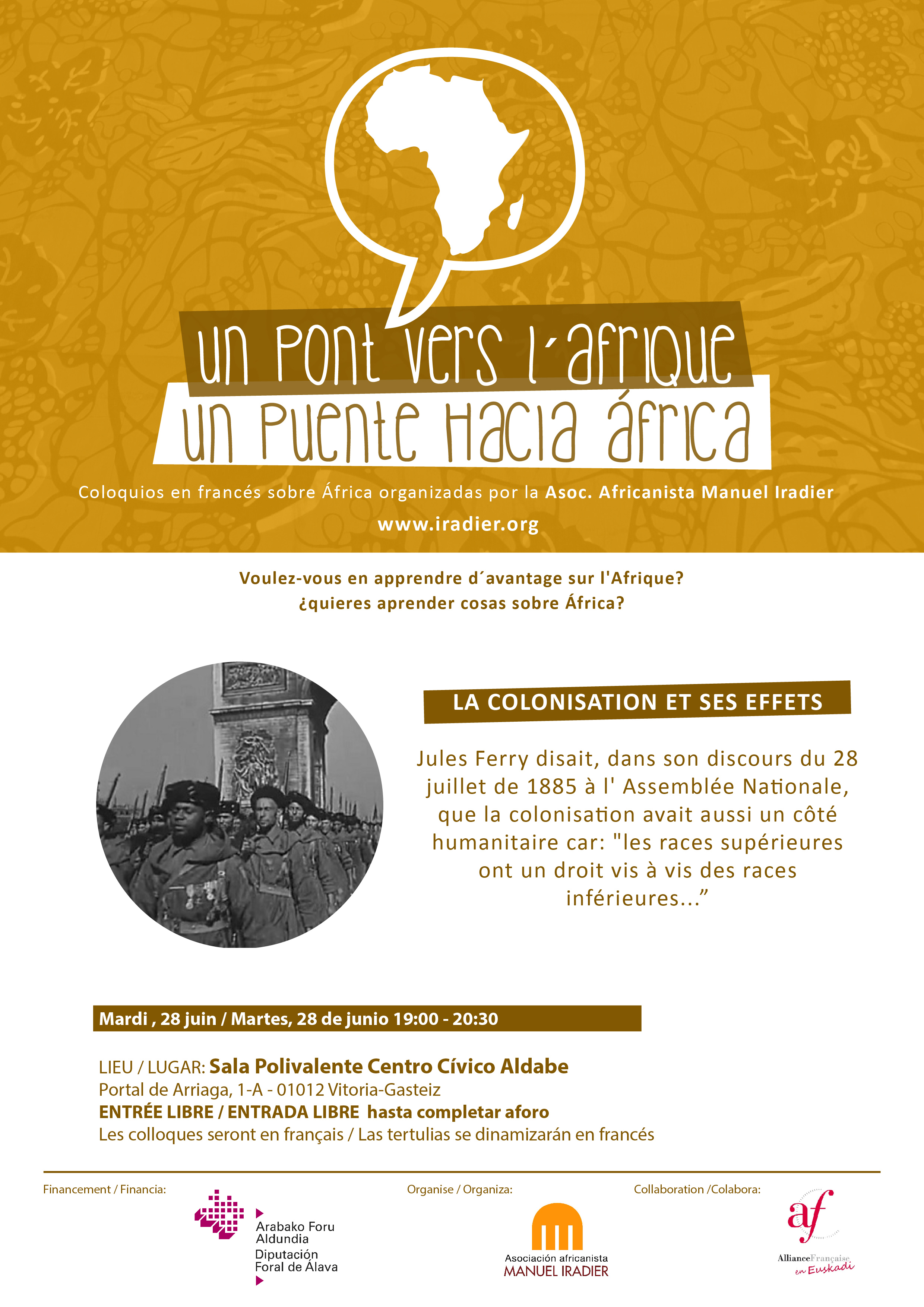 Nueva tertulia en francés UN PUENTE HACIA ÁFRICA